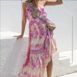 NWT Spell Coco Lei Lilac Floral Strappy Gown S